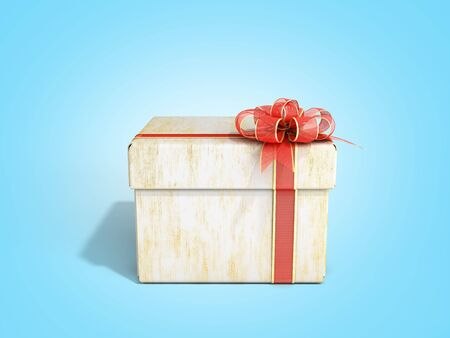 White close Square new year Gift Box with Red Ribbon and Bow 3d render on blue gradient