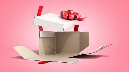 White open Square Gift Box with Red Ribbon and Bow 3d render on color gradient