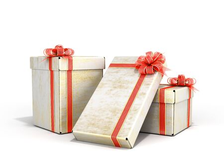 new year Gift Boxes 3d render on white Stockfoto