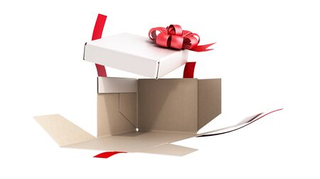 White open Square Gift Box with Red Ribbon and Bow 3d render on white no shadow