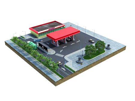 Piece of land Gas station with parking on the ground 3d render on white no shadow Stock Photo