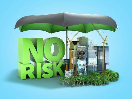 Modern risk management concept in construction industry 3d render on blue gradient