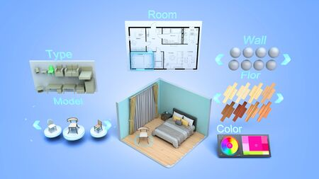 modern concept for quickly creating interior design room design constructor 3d render on blue gradient Standard-Bild - 132215338