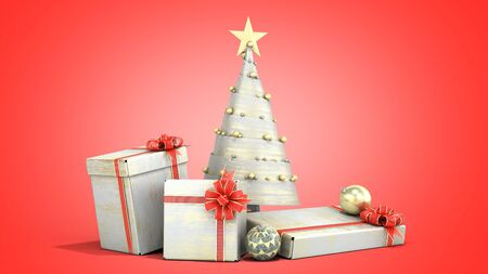 new year decorative Christmas tree and new year Gift Boxes 3d render on red gradient