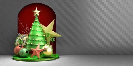 new year Christmas green minimalistic decorative background 3d render