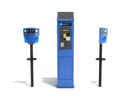 Parking meter machine 3d render on white