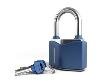 Steel classic lock with keys 3d render on white