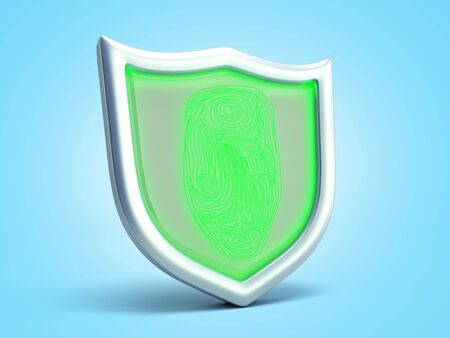 Secure resource concept safety sign 3d render on blue gradient Stock Photo