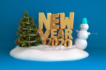 new year 2020 Christmas tree background on snow podium 3d render on blue gradient