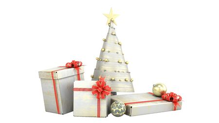 new year decorative Christmas tree and new year Gift Boxes 3d render on white no shadow