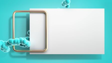 Abstract light color frame with soft fluid balls 3d render image on blue Stock Photo