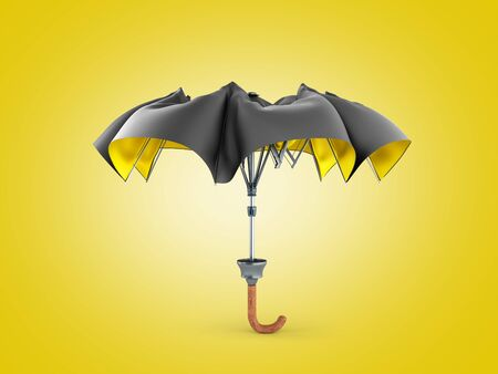 Opened two tone umbrella 3d render on color gradient