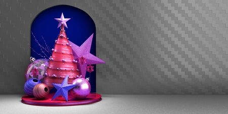 new year Christmas red minimalistic decorative background 3d render Stock Photo