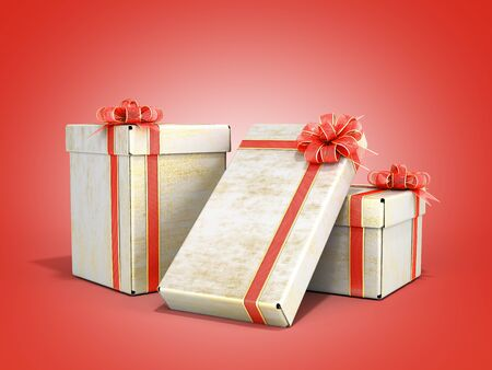 new year Gift Boxes 3d render on red gradient Stock Photo