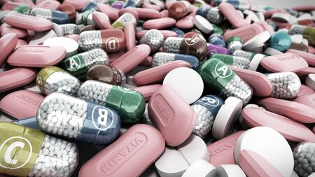 Vitamins and minerals in capsules 3d render image