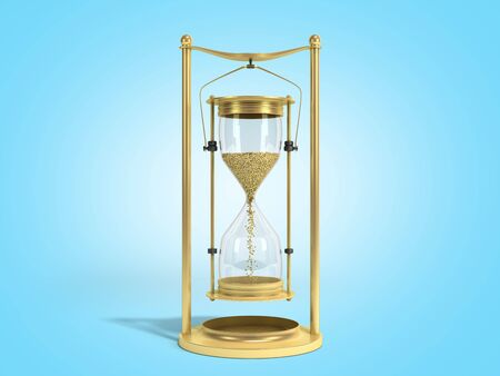 golden hourglass 3d render on blue  gradient background