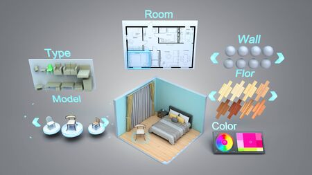 modern concept for quickly creating interior design room design constructor 3d render on grey gradient