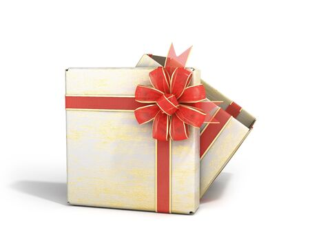 open empty new year Gift Boxe 3d render on white Stock Photo