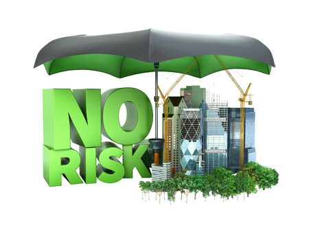 Modern risk management concept in construction industry 3d render on white no shadow