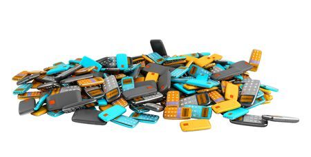 Phone Pile of old style phones 3d render on white no shadow