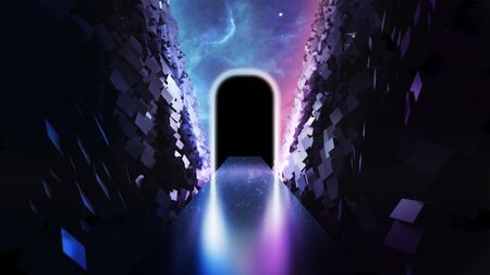 3d abstract neon background glowing rectangular portal in cyber space virtual reality road between walls of blocks under the night sky