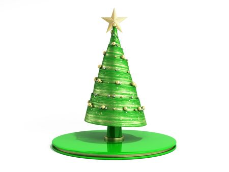 single new year decorative green Christmas tree 3d render on white