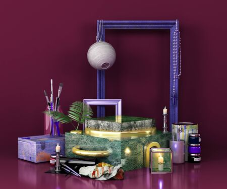 green marble podium for product presentation creative art style 3d remder image