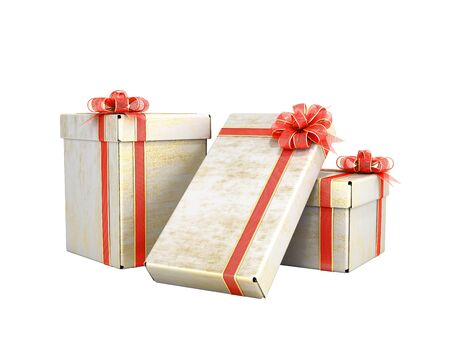new year Gift Boxes 3d render on white no shadow