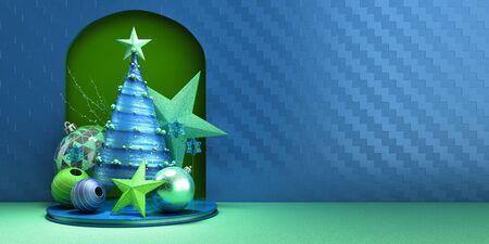 New year Christmas blue minimalist decorative  3d render
