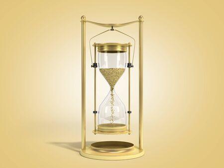 golden hourglass 3d render on color gradient background Stock Photo