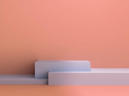 Simple color three stage podium 3d render image