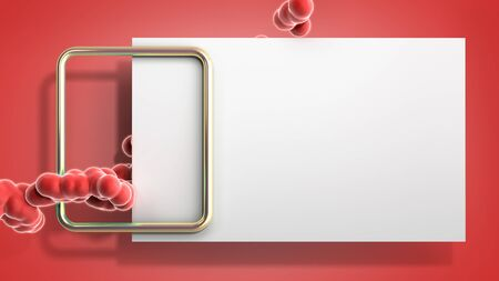 Abstract light color frame with soft fluide balls 3d render image on red