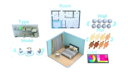 modern concept for quickly creating interior design room design constructor 3d render on white no shadow