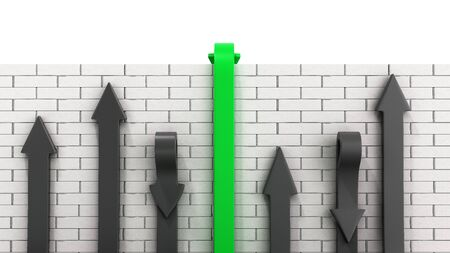 Concept of various solutions to problems green arrows go through the wall or turn around