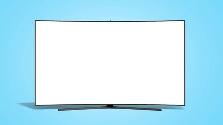 curved empty screen fuhd tv 3d render on blue gradient Stock Photo