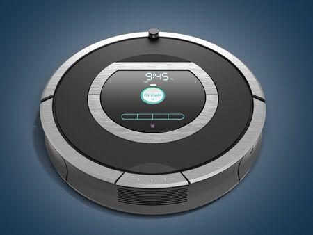 Smart robotic vacuum cleaner on blue gradient Stock Photo