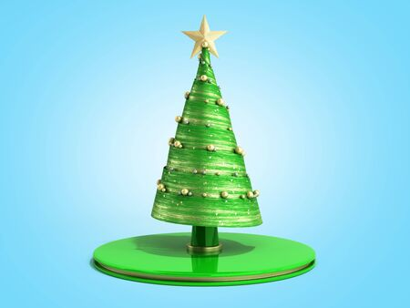 single new year decorative green Christmas tree 3d render on blue