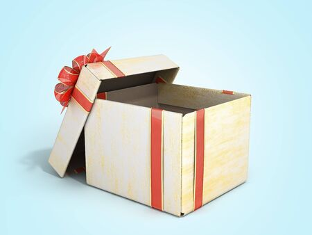 open empty new year Gift Boxe 3d render on blue gradient