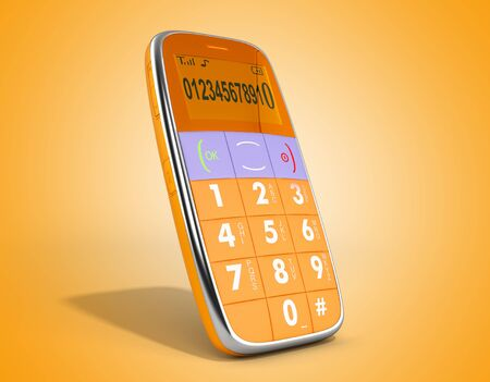 old style phone 3d render on on color gradient