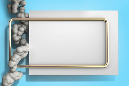 abstract light color frame as background with soft beton balls 3d render image Stock Photo