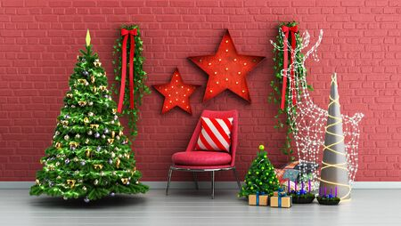 new year Christmas decorative background 3d render Stock Photo