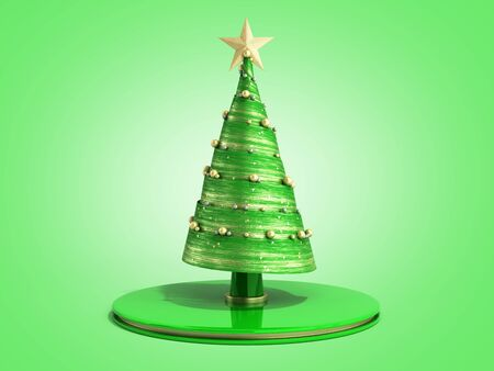 single new year decorative green Christmas tree 3d render on green Stock Photo