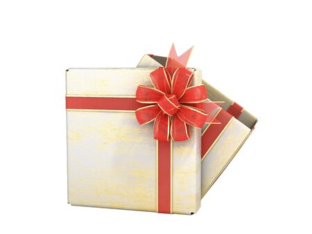 open empty new year Gift Boxe 3d render on white no shadow Stock Photo