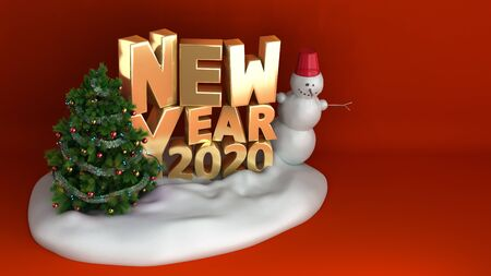new year 2020 Christmas tree background on snow podium 3d render on red gradient Stock Photo