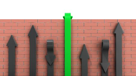 concept of various solutions to problems green arrows go through the wall or turn around 3d render on white brick wall
