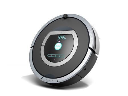 smart robotic vacuum cleaner 3d render on white Reklamní fotografie