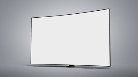 curved empty screen fuhd tv 3d render on grey gradient Reklamní fotografie
