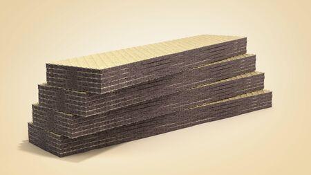 Four rectangle shape wafer biscuits 3d render on color gradient