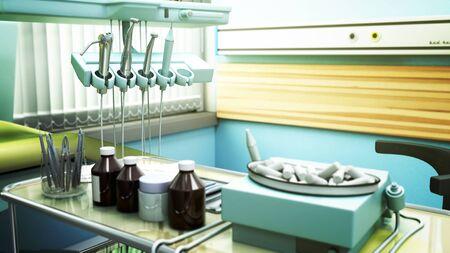 Special equipment for a dentist dentist office close up 3d render Stock fotó