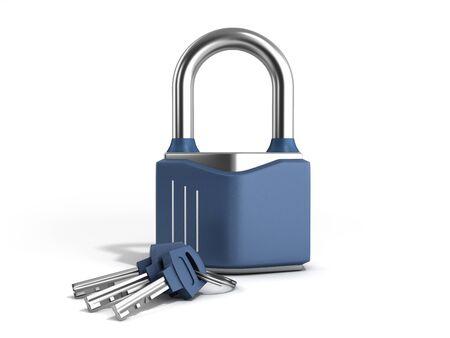 steel clasic lock with keys 3d render on white Stock fotó